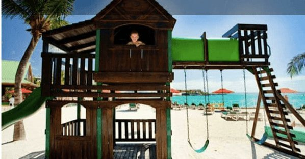 Single parent travel can include playtime for everyone at this st. Maarten resort with a playground