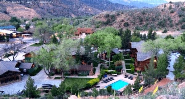 A hilltop view of flanigan's inn, utah