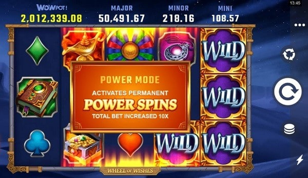 Wheel of Wishes power spins & power mode