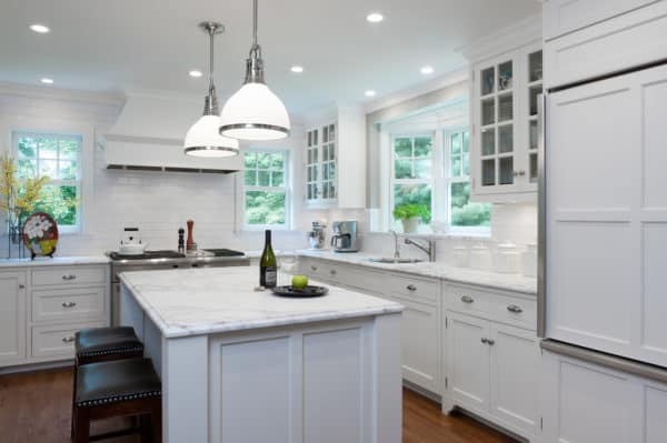 embrace white color scheme and andersen's bay windows over the sink for a stylish modern kitchen interior