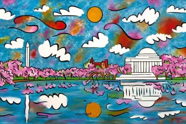 tidal basin washington dc painting