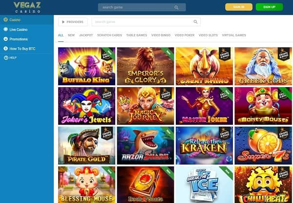 Vegaz Casino Review and Rating