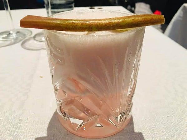 A rhubar sour at salutorget restaurant.