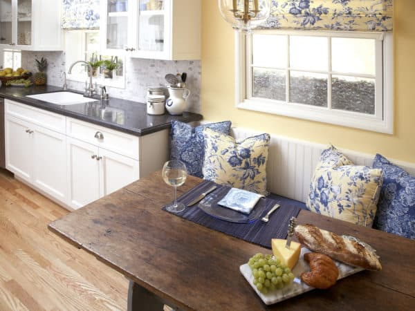 evoke the ambience of an elegant kitchen through intricate blue patterns with flax walls