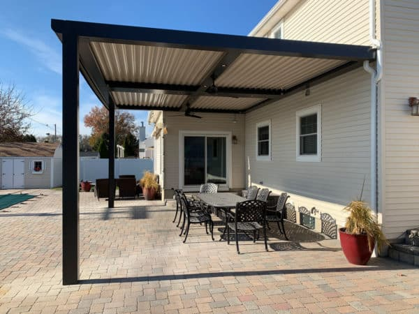 the best outdoor entertaining space with a modern pergola with metal roof