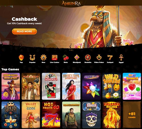 Amunra Casino Website Full Review & Free Spins Bonus