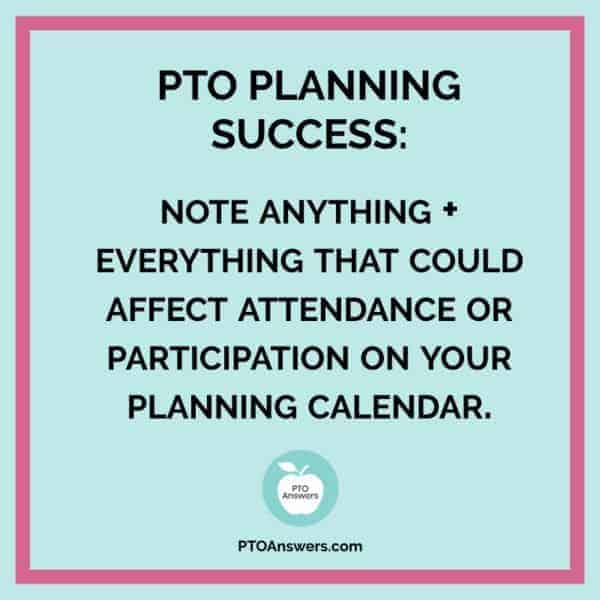 How to put together a PTO planning calendar to keep your PTO organized and on track. Plan out your entire year to work towards your PTA's goals for a successful year! #ptoanswers #pto #pta #planning