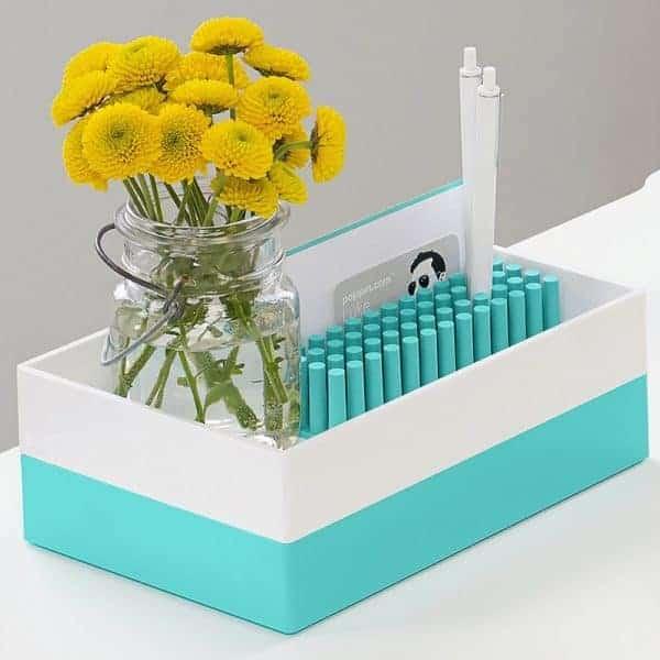 poppin softie grass aqua desk organizer