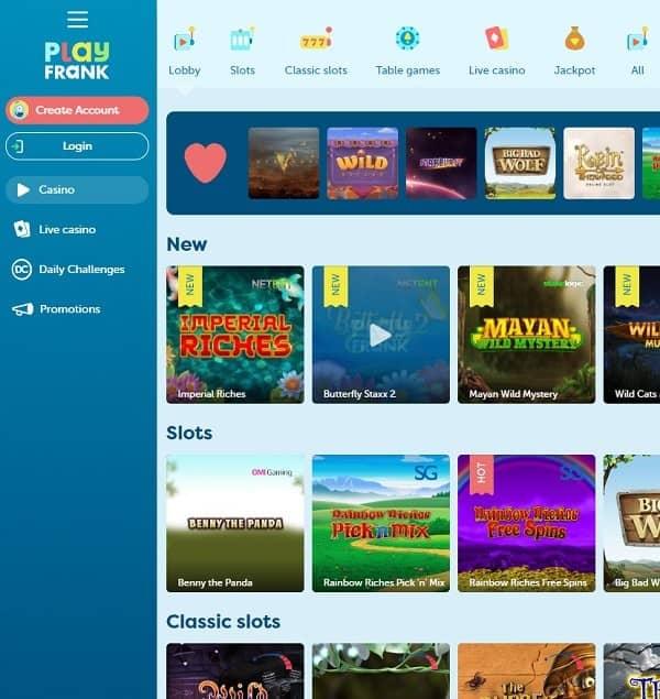Play Frank Casino free spins bonus