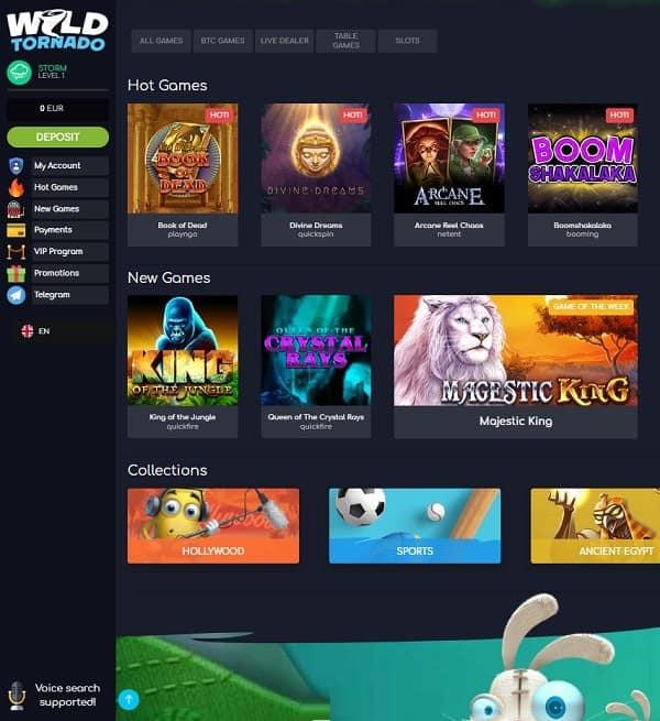 Wild Tornado Casino Online and Mobile