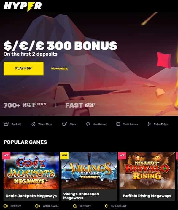Hyper Casino screen review