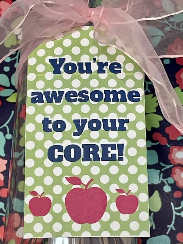 Awesome to the Core Apple Themed Teacher Appreciation Printable Gift Tag