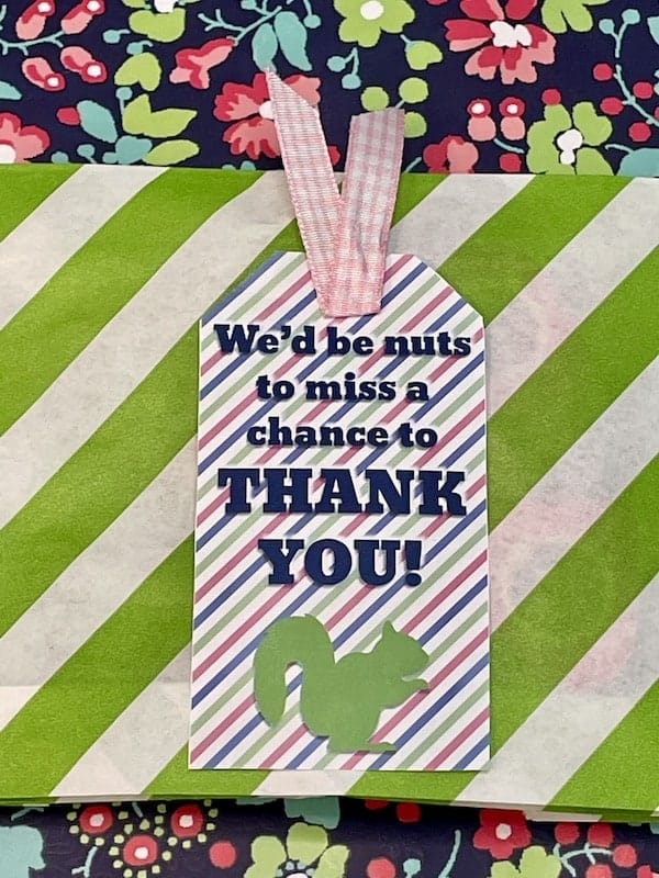 We'd Be Nuts Not To Appreciate You Squirrel Themed Appreciation Printable Gift Tag