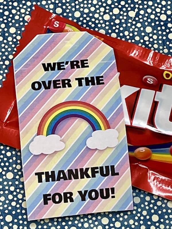 Over the Rainbow Themed Appreciation Printable Gift Tag Set