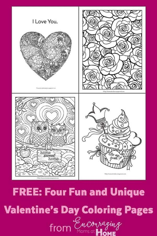 Coloring pages to celebrate a special day are a great way to begin the day and get things hopping. Give your kids some pretty markers or nice colored pencils and let them choose one of these four pages to color and give to the family member of their choice.