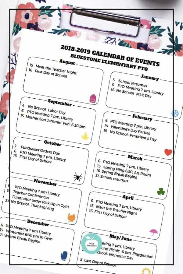 PTO calendar template to publicize PTO family events and fundraisers. Plan out your entire year to work towards your PTA's goals for a successful year! #ptoanswers #pto #pta #template