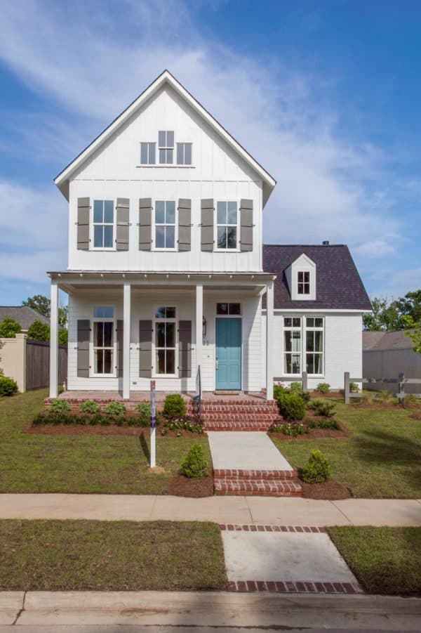 jamestown blue front door color adds the fun to muted tan farmhouse