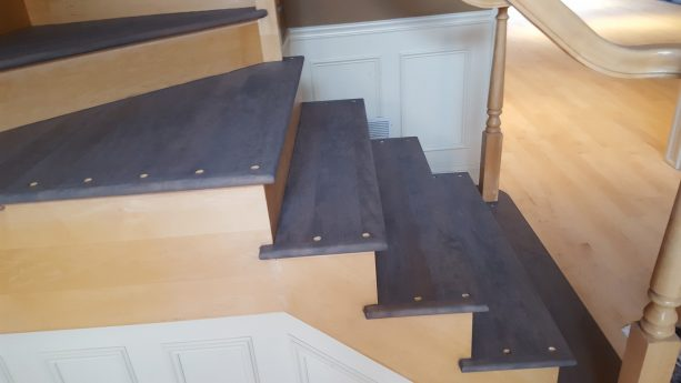 Minwax Classic Gray stain on maple staircase