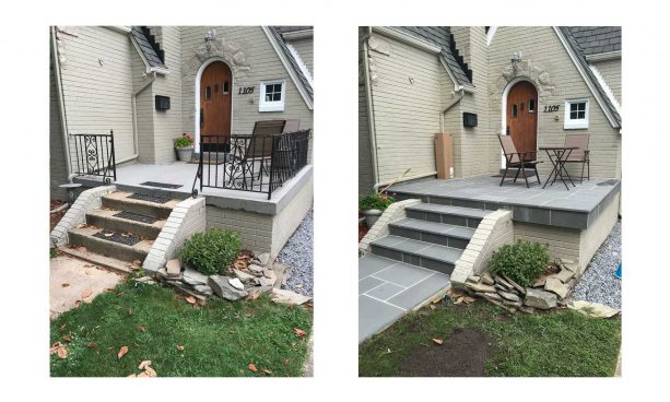 front steps looking neater after getting a makeover with new flagstone material