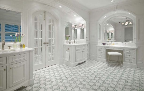 grey and white bathroom in classical design