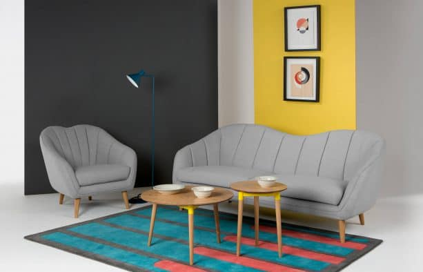 retro grey and yellow living room with yellow accent wall