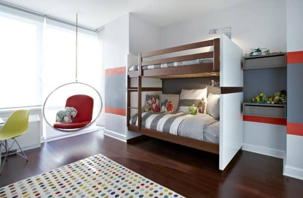kids' bedroom with red and gray stripes wall design