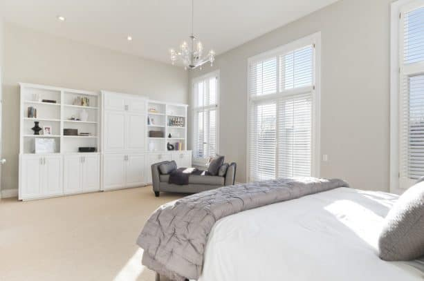 master bedroom with benjamin moore stonington gray HC-170 wall paint