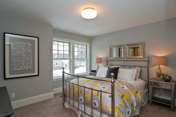 beige carpet color goes with light gray walls for small transitional bedroom