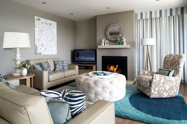 greige and teal living room