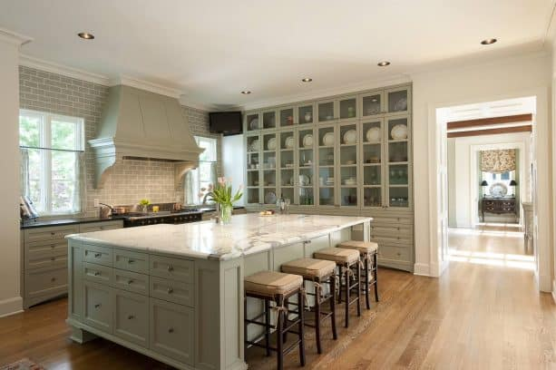 sage green cabinets in a traditional kitchen