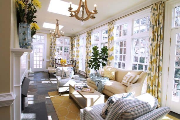 natural and sunny mustard and grey living room