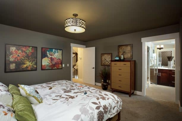 beige carpet color goes with dark gray walls for traditional bedroom