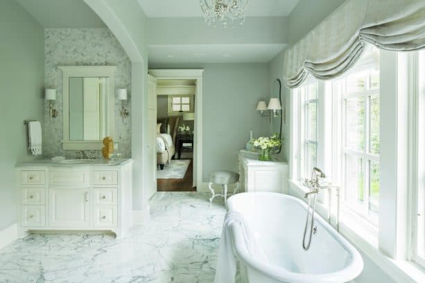 luxurious transitional bathroom with benjamin moore silver chain 1472 wall paint