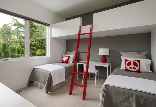 grey girl bedroom with brave red accents