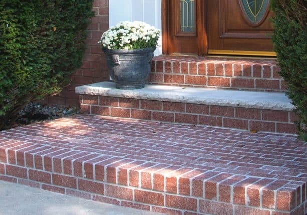 interesting thin brick overlay on concrete front steps