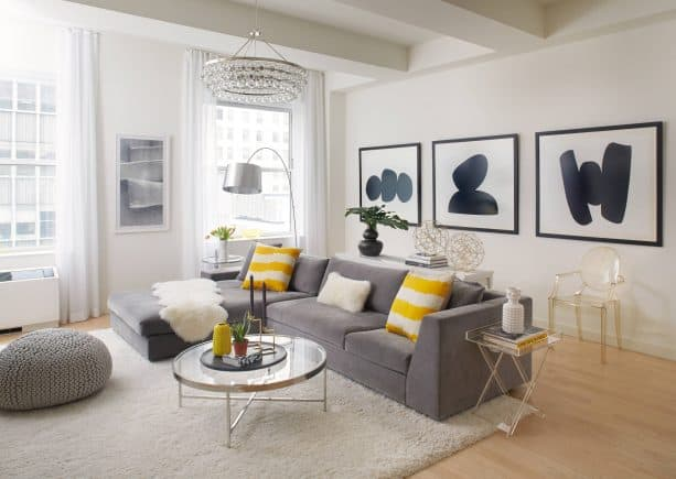 grey and yellow living room with soft cloud grey fluffy rug