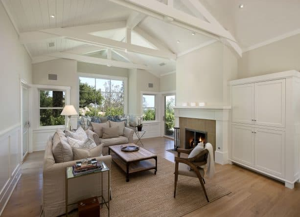 traditional living room with Pratt and Lambert Antique White 14-31 wall paint