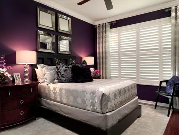purple and grey bedroom with a mulberry wall