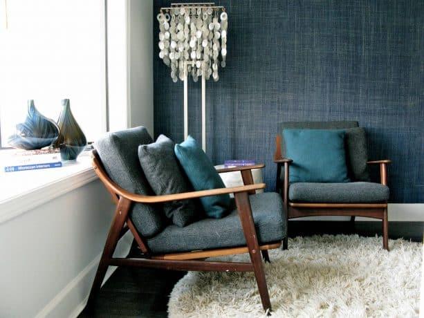 dark grey, teal and dark blue living room