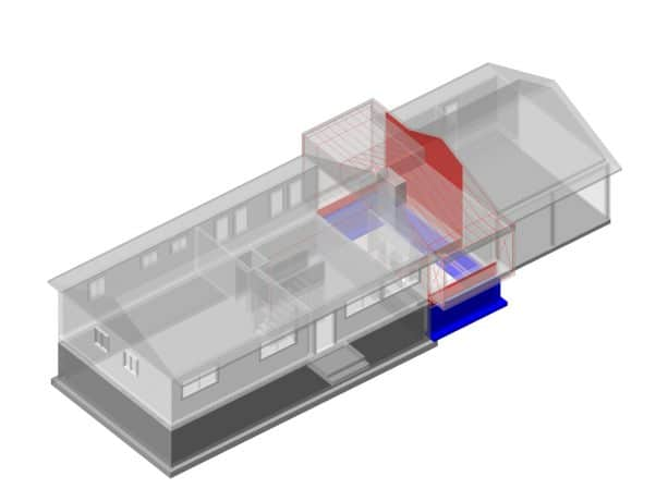 the blue rectangular area used to be a courtyard before the home addition project