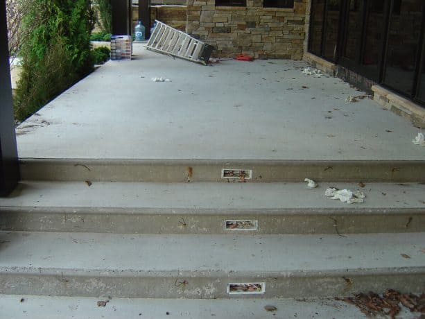 the bullnose concrete steps and porch before the makeover