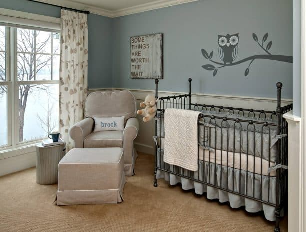 gender neutral traditional nursery room with Benjamin Moore gentle gray 1626 wall paint color