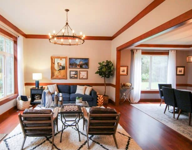 stained wood crown molding in a beautiful craftsman living room