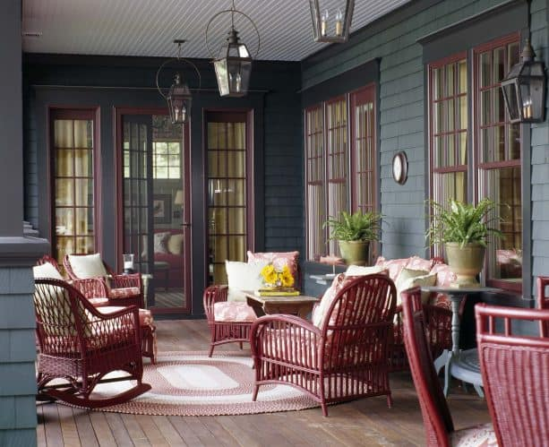 teal and red traditional porch