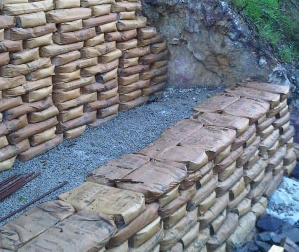 another usage of Sakrete bags for creating a vertical retaining walls