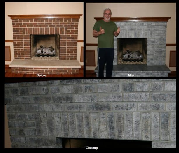 staining for creating an aged look on a red brick fireplace