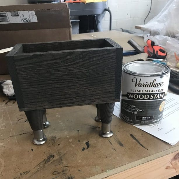 the use of Varathane Fast Dry Carbon Gray on wood planter
