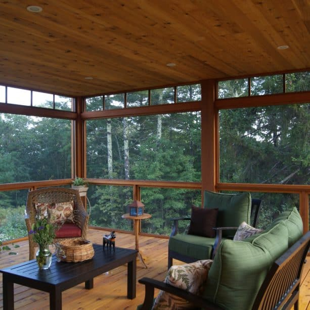 a contemporary porch with tongue and groove cedar ceiling