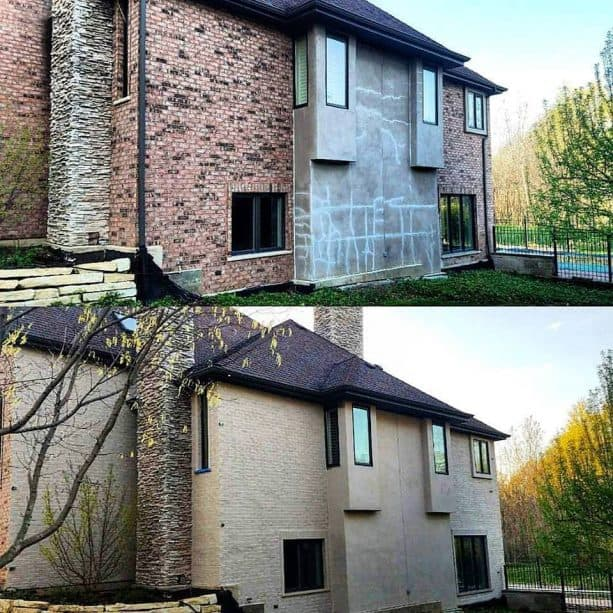the before and after brick staining process for creating a uniform look