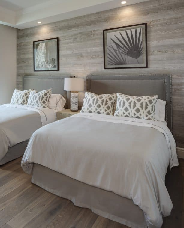 beach-style bedroom with warm grey wall and engineered white oak flooring